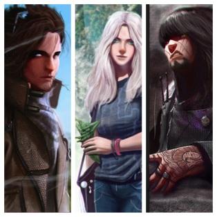 Main characters from my series-in-progress: hero Nick Stone, heroine Lark Turehu and antagonist Mikk Stone. Art by John Taylor.