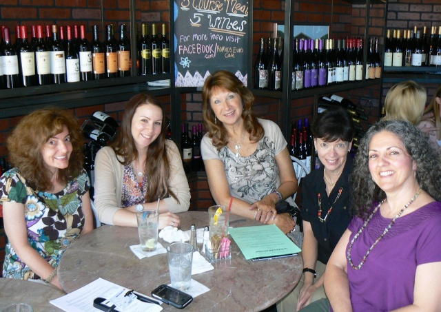 A former ALWAYS gathering with Karen Mueller Bryson, Megan Scott, Laurie Fagen, Mallary Tytel, and Ann Videan. Our handful of established authors meets once a month to discuss topics affecting our writing.