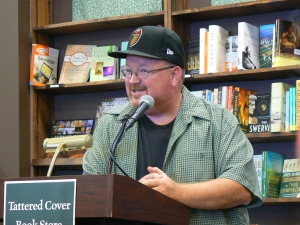 Snapped this shot of Kevin Hearne, author of the Iron Druid Chronicles (https://www.facebook.com/authorkevin?ref=br_tf) at his *Shattered* book signing in Colorado. He's so at ease with an audience... I'm assuming he's great with the media, too. Are you? Come find out how you can succeed with broadcast media at our January ALWAYS gathering.