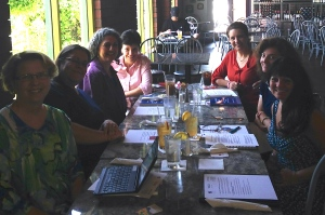 We look a lot more vibrant than this in person! Wendy, Patricia, Ann, Mallary, Marsha, Karen, and Alana.